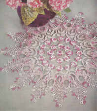 Vintage Crochet PATTERN to make Lacy Irish Rose Ruffle Doily Flower Floral RoseR