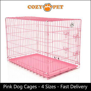 Dog Cage by Cozy Pet  Pink Puppy Crates 4 Sizes S M L XL Cat Carrier Transport