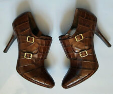 LAUREN RALPH LAUREN LATISHA DOUBLE MONK STRAP BROWN CROC LEATHER ANKLE BOOT 11B