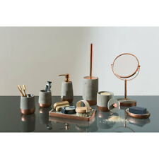 Neptune Bathroom Accessories Copper & Concrete Soap Dispenser Holder Jar Tray