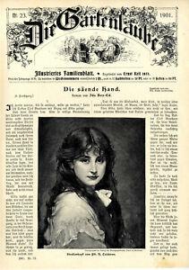 Studienkopf Junge Schönheit von Calderon Dekorative Titelblatt-Vignette von 1901