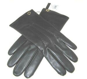 Coach Ladies Black Sheepskin Leather Gloves Merino Wool F32700 Size 7.5 NWT $135