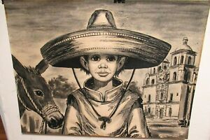 CRIONAS MEXICAN BOY AND HIS DONKEY ORIGINAL ACRYLIC ON PAPER PAINTING
