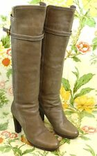 "Chloe Size 10 40 Brown Tan Leather Buckle Tall Knee Boots 3.5"" Heel 13"" Shaft"