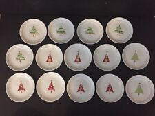 """Crate & Barrel 14 Dessert Appetizer 6"""" Plates Whimsical Christmas Trees Holiday"""
