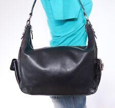 RALPH LAUREN Med Lrg Black Leather Shoulder Hobo Tote Satchel Purse Bag