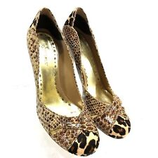 "BCBGirls Women's Slip-on Round Toe Pumps 3.75"" Heels 8B Animal Print Leather S3"
