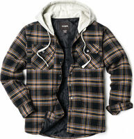 CQR Men's Long Sleeve Hooded Quilted Lined Flannel Plaid Button Up Shirt Jackets