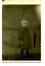 Cute Blonde Little Girl on Table-Plaid Cloth-RPPC-Vintage Real Photo Postcard