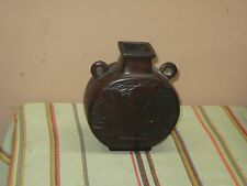 Vintage Japanese Chinese Asian Patinated Bronze Bottle Canteen Jug Swan Marked