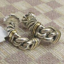New Listingnew David Yurman Metro Sterling Curb Hoop Earrings With Gold Retail 650
