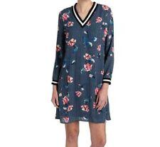 Luxology Long Sleeve Striped Floral V Neck Shift Dress Navy Floral Lined-SIZE 12