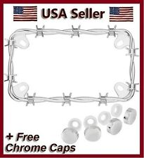 NEW CHROME METAL BARBED WIRE MOTORCYCLE LICENSE PLATE FRAME BIKE BARB & 4 CAPS