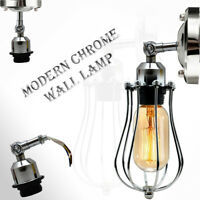 Modern Retro Vintage Lighting Industrial Wall  Lights Chrome Sconce Lamp Fixture