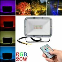 20W RGB LED Flood Light Outdoor Yard Remote Control W/ Memory Color Changing
