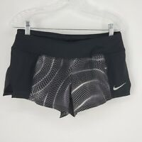 Nike Dri-Fit  Running  Athletic Shorts Lined Black And Gray Pattern Womens M
