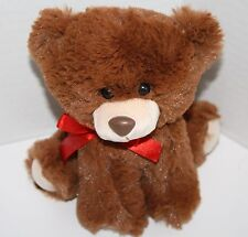 """TEDDY BEAR Sits 6"""" Plush Brown Stuffed Animal Red Bow Soft Toy Just For You"""