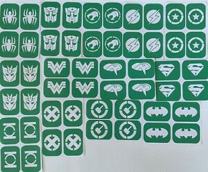 52 x small Super Heros Stencils  Body Art And Glass Etching  Glitter Stencil Art