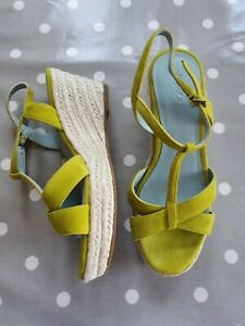 BODEN lime green suede wedge espadrille sandals size 39 UK 6 BNWOB