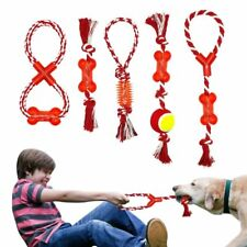 Cotton Pet Dog Rope Chew Tug Toy Knot Bone Ball Shape Pet Playing Teeth Cleaning
