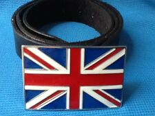 UNION JACK BRITISH FLAG UK BRIT POP ENGLAND BUCKLE BLACK LEATHER BELT