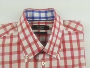 Bugatti Long Sleeve Button Down Plaid Red Shirt Men`s  Size L   41/42   #2033