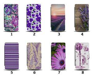 Lavender Flowers Flip Wallet Case Purple Summer Picture Photo Flower 8156a