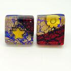 Rojo, Oro y Azul Murano Veneciano Vidrio Boda Gemelos con Millefiori