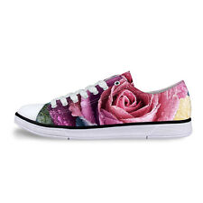 Floral Rose Ladies Low Top Sneakers Fashion Comfort Lace up Canvas Shoes Woman
