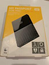 WD My Passport 1TB External Hard Drive NEW IN BOX WDBFK0010BBK-WESN Mac W/Case