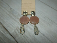 EARRINGS ANTHROPOLOGIE DANGLE STONE DUSTY MAUVE GRAY SPECK POST NEW TAG $48