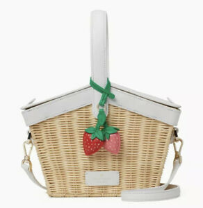 🍓Kate Spade Wicker Picnic in the Park Basket Strawberries Novelty Bag Satchel