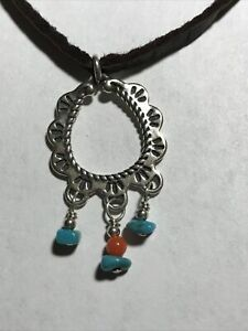 """New Carolyn Pollack Turquoise, Red Coral Sterling Silver Leather Necklace~16"""""""
