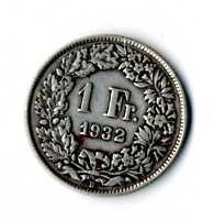 Moneda Suiza 1932 B 1 franco suizos plata .835 silver coin Helvetia