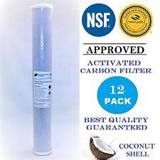"12 Pack Carbon Block Cartridge 2.5"" x 20"" NSF Water Filter 10 Micron"