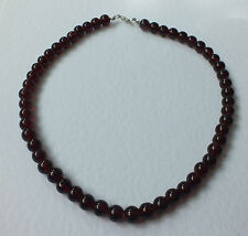 SINGLE STRAND DEEP RED GLASS NECKLACE LOOKS LIKE GARNETS SILVER PL 16 INCH PRL