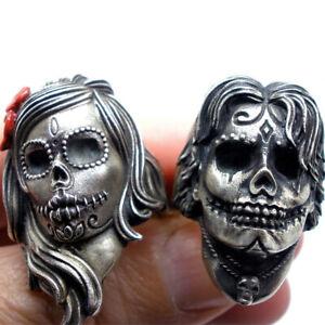 Stainless Steel Flower Sugar Skull Ring Catrina Calavera Rings Women Punk Rings