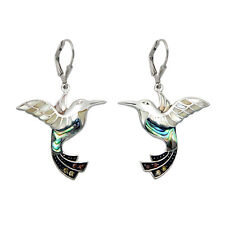 Sterling Silver Hummingbird and Inlaid Shell Lever Back Earrings