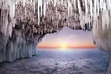 OCEAN ICE CAVE AT SUNRISE ~ 24x36 NATURE POSTER ~ NEW!
