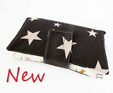 Handmade nappy wipe changing pouch holder wallet- Foxes & Stars on Grey