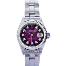 Rolex Lady Datejust Purple Diamond Dial  Fluted Bezel 26mm Oyster Band Watch