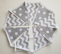 Grey/White Spot & Chevron Fabric Handmade Bunting Garland Double Sided