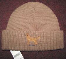 Men's POLO-RALPH LAUREN Camel Knit GOLDEN RETRIEVER Cuffed Skull/ Beanie Hat