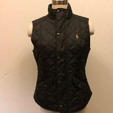 Polo Ralph Lauren women equestrian black quilted barn vest leather trim medium