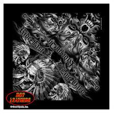 Hot Leathers Indian Skull Ride Fast Live Hard Bandana Black BAB1061