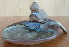 """""""Turtle Lou"""" Pottery Craft, With Own Lilly Pad-Tray~Made In U.S.A~mid-1970's"""