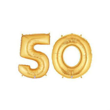 """Party Balloon Numbers """"50"""" Gold Betallic Megaloon 40"""" Mylar"""