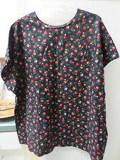 HANDMADE TOP, Black & Floral BLOUSE OR SCRUB LIKE. OVER HEAD ROUND NECK
