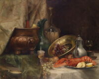 "Dream-art Oil painting fruits with Lobster water pot cup etc. on table 24""x36"""
