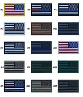 """USA American Flag REVERSE Patch 2"""" x 3"""" Hook And Loop Choice Military Tactical"""